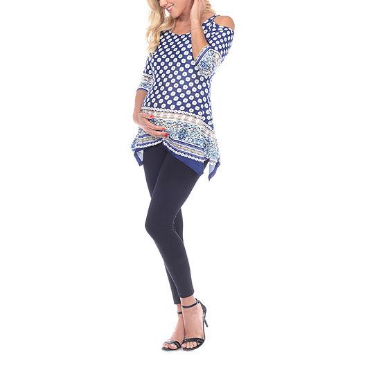 White Mark-Plus Maternity Womens Scoop Neck 3/4 Sleeve Tunic Top