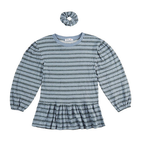 Knit Works Big Girls Round Neck Long Sleeve Peplum Top, Small (7-8) , Blue
