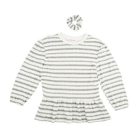 Knit Works Big Girls Round Neck Long Sleeve Peplum Top, Large (14) , White