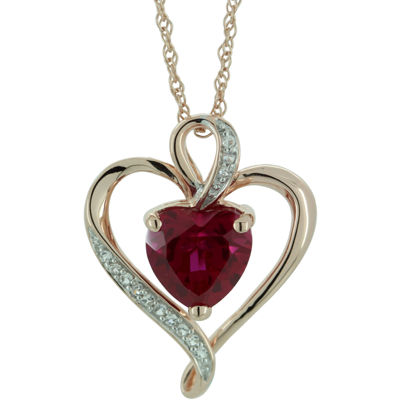 Lab-Created Ruby & White Sapphire Heart Pendant Gold Over Sterling  Necklace