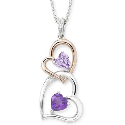 Lab-Created Amethyst and White Sapphire Double Heart Pendant Necklace