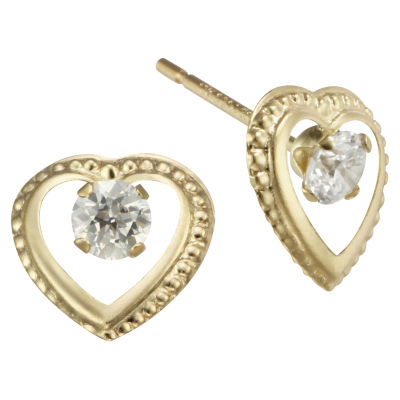 Cubic Zirconia Heart Stud Earrings 10K Gold