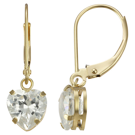 Heart-Shaped Cubic Zirconia Earrings 14K Gold