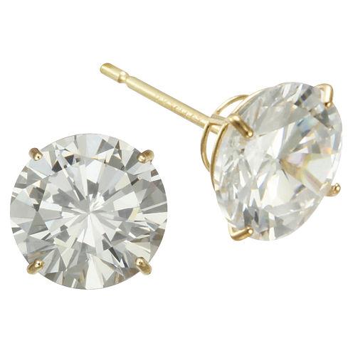 7mm Cubic Zirconia Stud Earrings 14K Gold