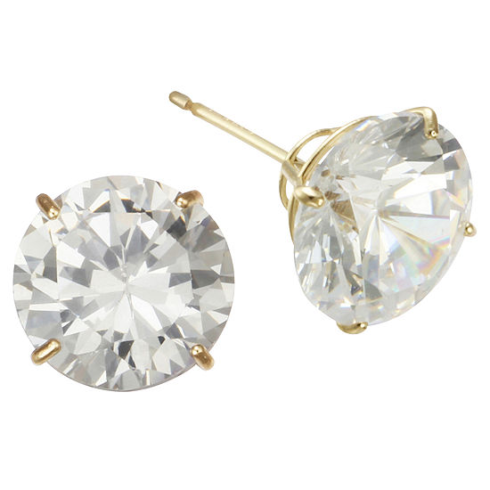 9mm Cubic Zirconia Stud Earrings 14K Gold