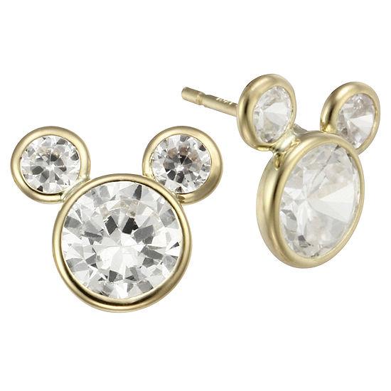 Girls Disney Mickey Mouse 10K Gold Cubic Zirconia Stud Earrings