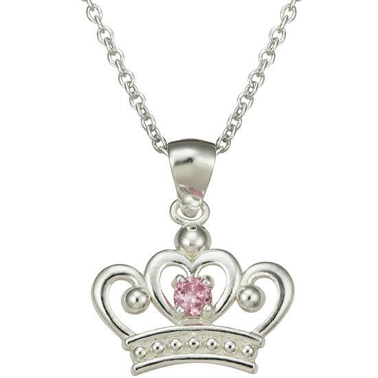 Disney Girls Pink Cubic Zirconia Princess Crown Pendant Necklace