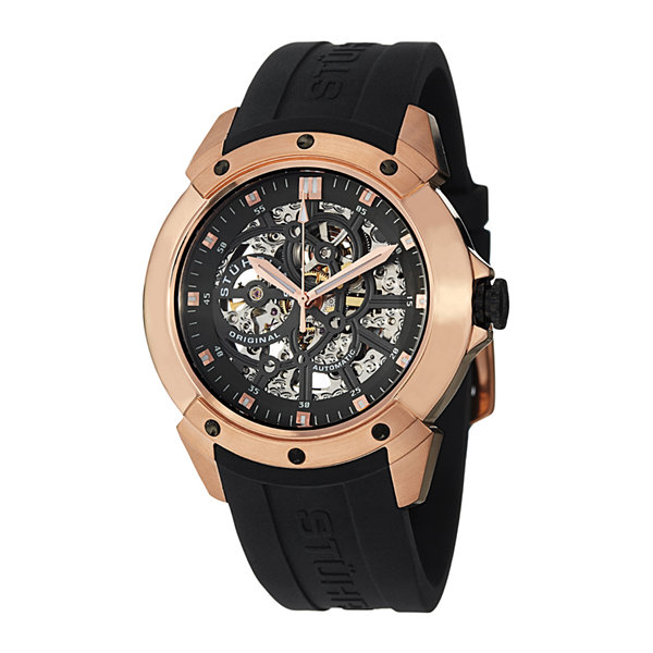 Stührling® Original Mens Black Silicone Strap Skeleton Automatic Watch