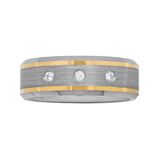Men's 1/10 CT. T.W. Diamond Two-Tone Wedding Band