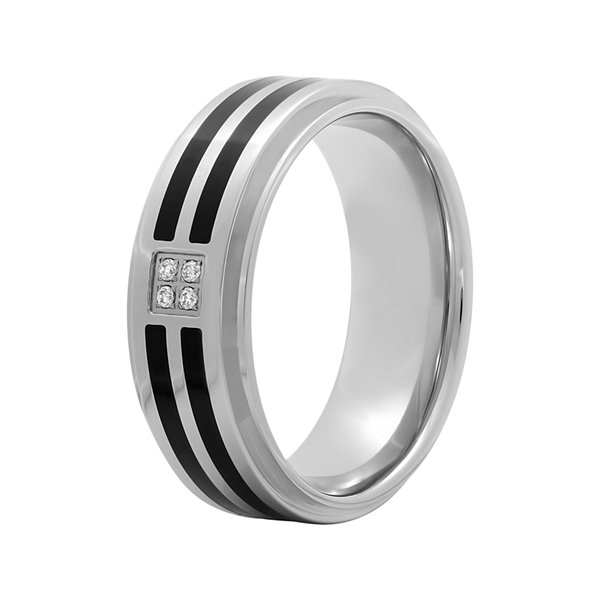 Men's Diamond-Accent Comfort Fit Two-Tone Wedding Band