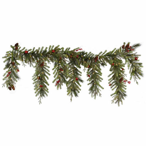 6.5 Ft. Pre-Lit Red Berry & Ball Ornament Mixed Pine Artificial Christmas Garland with Clear Lights