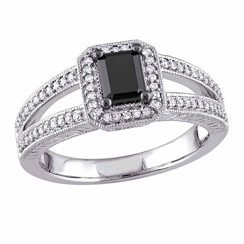 Midnight Black Womens 7/8 CT. T.W. Color Enhanced Emerald Black Diamond 10K Gold Engagement Ring