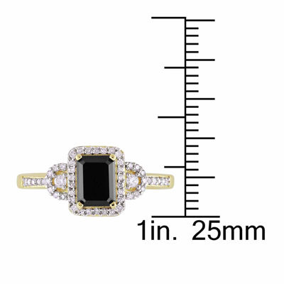Midnight Black Womens 1 1/5 CT. T.W. Color Enhanced Emerald Black Diamond 10K Gold Engagement Ring
