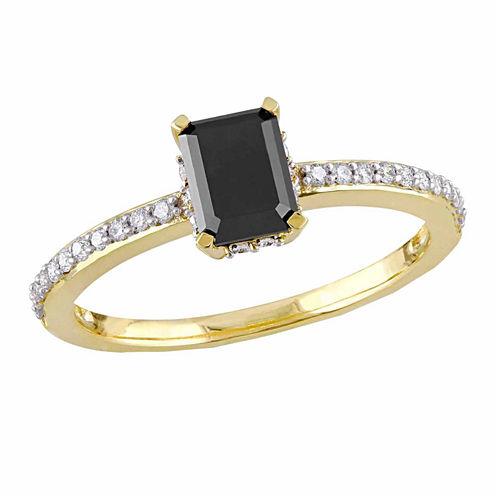 Midnight Black Womens 1 1/5 CT. T.W. Color Enhanced Emerald Black Diamond 10K Gold Engagement Ring