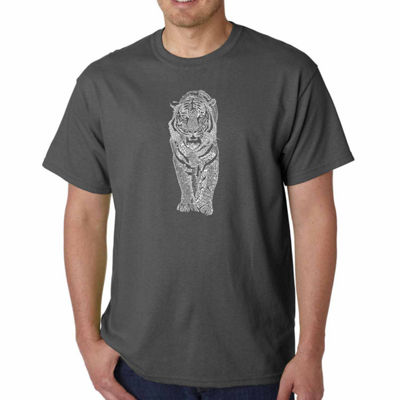 Los Angeles Pop Art Tiger Short Sleeve Word Art T-Shirt - Big and Tall
