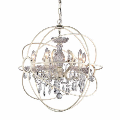 Warehouse Of Tiffany 8-light 16-inch Rosielee White Chandelier