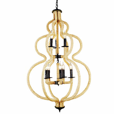 Warehouse Of Tiffany Clyde 8-light Hemp Rope 28-inch Chandelier with Bulbs