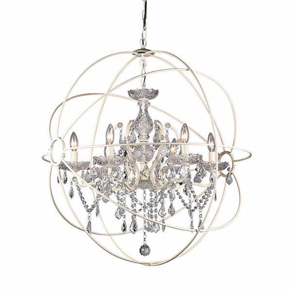 Warehouse Of Tiffany 5-light 22-inch Rosielee White Chandelier