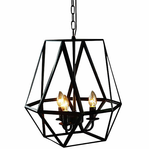Warehouse Of Tiffany Shandie Antique Bronze Geometric Edison Chandelier with Bulbs
