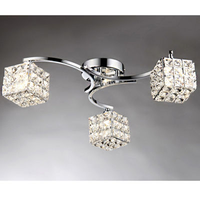 Warehouse Of Tiffany Liel 3-light Glass 22-inch Chrome Ceiling Lamp