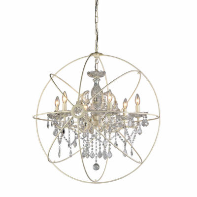 Warehouse Of Tiffany Rosielee 6-light Crystal 32-inch White Chandelier