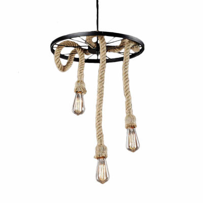 Warehouse Of Tiffany Tamia 3-light Hemp Rope 18-inch Edison Chandelier with Bulbs