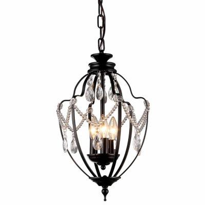 Warehouse Of Tiffany Kennedy 3-light Black-finish11-inch Crystal Chandelier