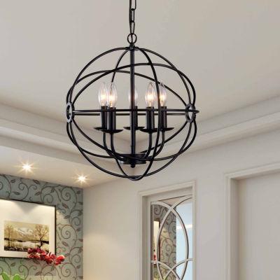 Warehouse Of Tiffany Meila 5-light Black 16-inch Spherical Chandelier