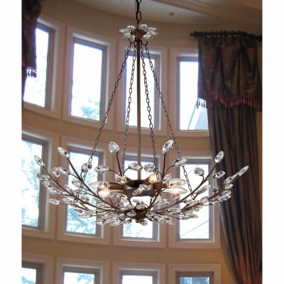 Warehouse of Tiffany Addie 8-light Crystal 30-inch Antique Bronze Chandelier