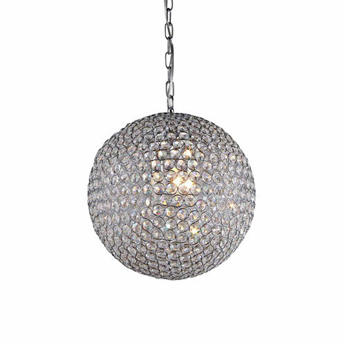 Warehouse Of Tiffany Prometheus' Chrome and Crystal 4-light Chandelier