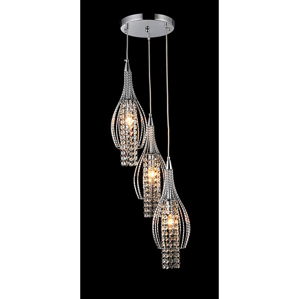 Warehouse Of Tiffany Xuan 3-light Adjustable Crystal Chrome-finish Chandelier