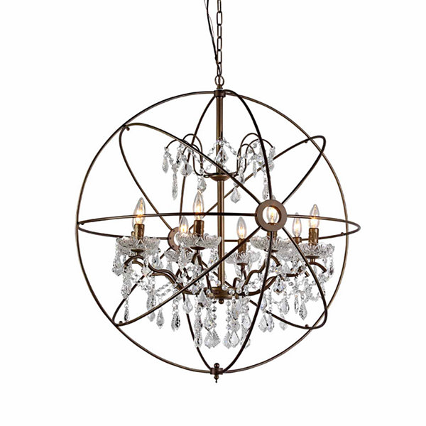 Warehouse Of Tiffany Edwards Antique Bronze and Crystal 24-inch Sphere Chandelier