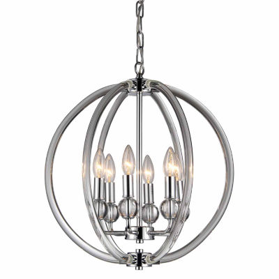 Warehouse Of Tiffany Mallory 6-light Clear 18-inch Chrome Chandelier