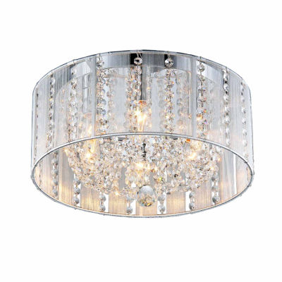 Warehouse Of Tiffany Addison 4-light White 16-inch Crystal Flush Mount