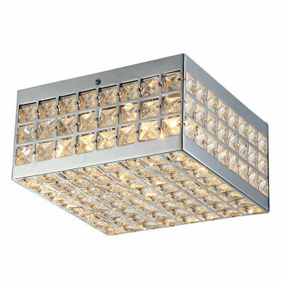 Warehouse Of Tiffany Olwenn Square Chrome-finish Crystal 5-inch 4-light Flush-mount Fixture