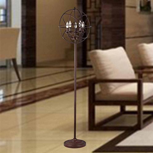 Warehouse Of Tiffany Maaja 5-light Spherical Metal 66-inch Antique Floor Lamp