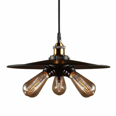 Warehouse Of Tiffany Shandi 3-light Black Adjustable Height 16-inch Edison Pendant with Bulbs