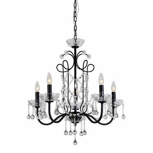 Warehouse Of Tiffany Donna 5-light Crystal 22-inchBlack Finish Chandelier