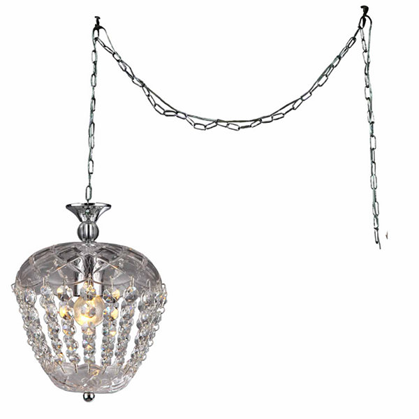 Warehouse Of Tiffany Miriam 1-light Crystal 8-inch Chrome Swag Lamp