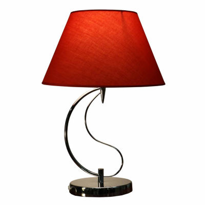 Warehouse Of Tiffany Christina 1-light Red Fabric 20-inch Chrome Table Lamp