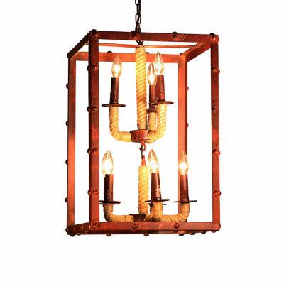 Warehouse Of Tiffany Rivka 8-light Rectangular Rusty Steel 16-inch Chandelier