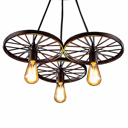 Warehouse Of Tiffany Serapiko 3-light Antique Bronze 20-inch Edison Chandelier with Light Bulb