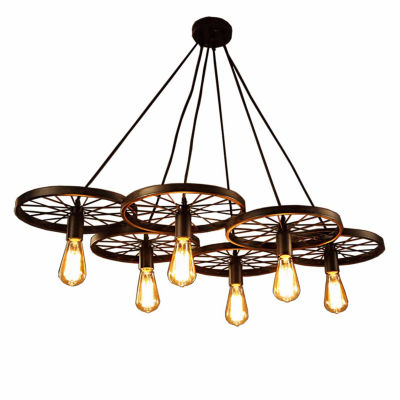 Warehouse Of Tiffany Nathaniel 6-light Black 41-inch Edison Chandelier with Bulbs
