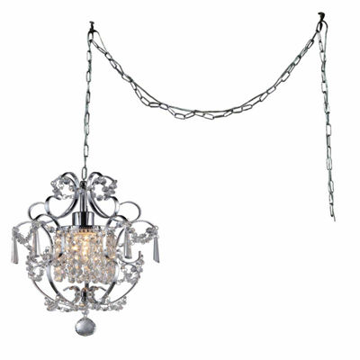 Warehouse Of Tiffany Cynthia 1-light Crystal 11-inch Chrome Swag Lamp