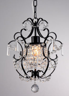 Warehouse Of Tiffany Ava 1-light Black 11-inch Crystal Chandelier