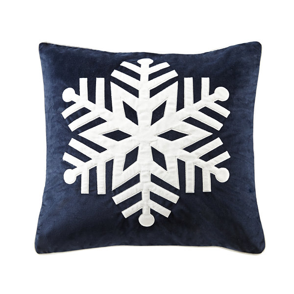 Madison Park Velvet Snowflake Square Throw Pillow