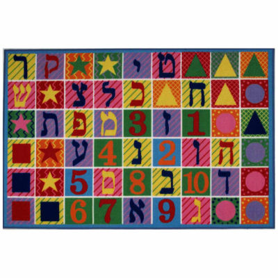 Hebrew Numbers & Letters Rectangular Rugs