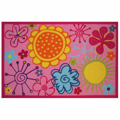 Fancy Floral Rectangular Indoor Rugs