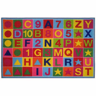 Alphanumeric Fun Rectangular Rugs