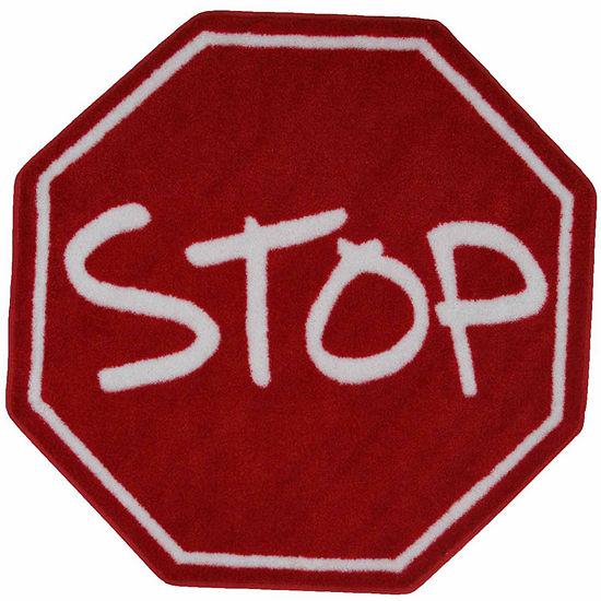 Stop Sign Round Indoor Rugs
